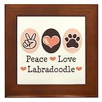 Peace Love Labradoodle Framed Tile