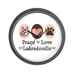 Peace Love Labradoodle Wall Clock