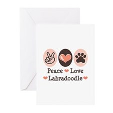 Peace Love Labradoodle Greeting Cards (Pk of 10)