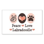Peace Love Labradoodle Rectangle Sticker