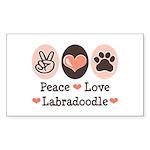 Peace Love Labradoodle Rectangle Sticker