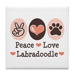 Peace Love Labradoodle Tile Coaster