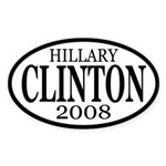 Clinton 2008 b&w oval bumper sticker