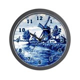 Vintage Look Delft Wall Clock
