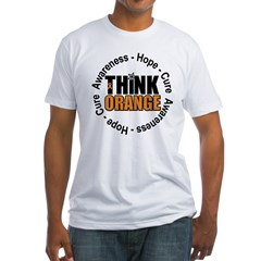 Think Orange Leukemia Fitted T-Shirt