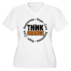 Think Orange Leukemia Women's Plus Size V-Neck T-S