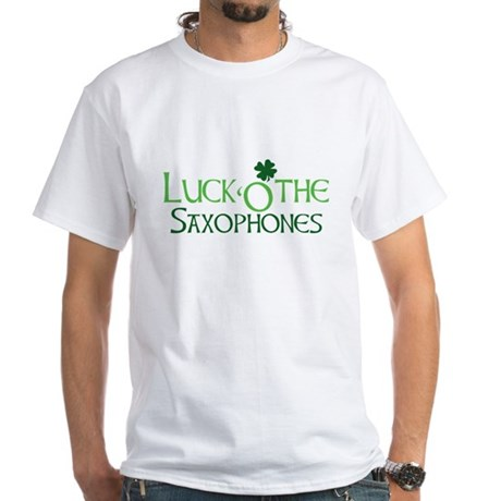 Luck 'O the Saxophones White T-Shirt