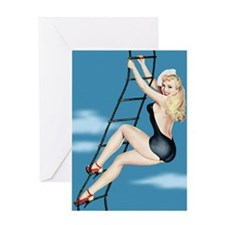 Climbing Ladder Girl Greeting Card