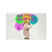6th Birthday Princess Rectangle Magnet (10 pack)
