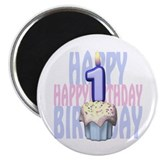 First Birthday Cupcake 2.25&quot; Magnet (10 pack)