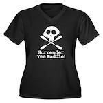 Kayaking Pirate Women's Plus Size V-Neck Dark T-Sh