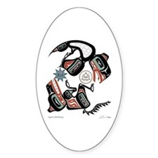 Eagle & Wolf Rising Oval Decal