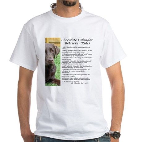 Chocolate Lab Rules White T-Shirt