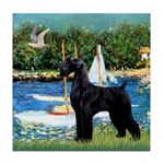 SCHNAUZER & SAILBOATS Tile Coaster
