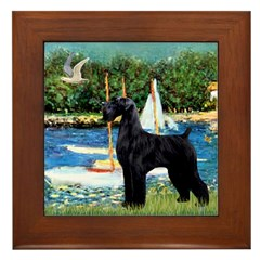 SCHNAUZER & SAILBOATS Framed Tile