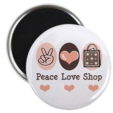 "Peace Love Shop Shopping 2.25"" Magnet (10 pack)"