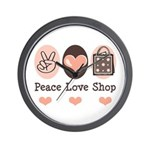Peace Love Shop Shopping Wall Clock