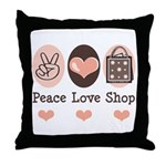 Peace Love Shop Shopping Throw Pillow