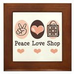 Peace Love Shop Shopping Framed Tile