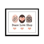 Peace Love Shop Shopping Framed Panel Print