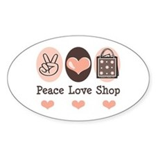 Peace Love Shop Shopping Oval Decal