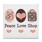 Peace Love Shop Shopping Tile Coaster