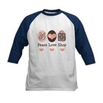 Peace Love Shop Shopping Kids Baseball Jersey