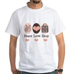 Peace Love Shop Shopping White T-Shirt