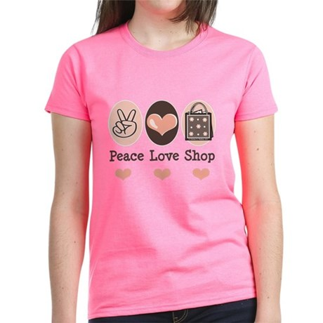 Peace Love Shop Shopping Women's Dark T-Shirt