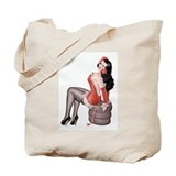 Red Flower Girl Tote Bag