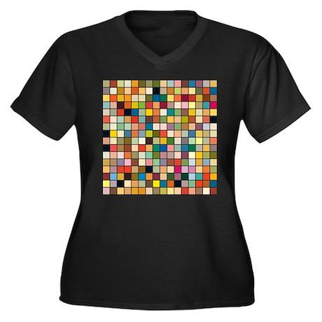 Random Color Blocks Women's Plus Size V-Neck Dark