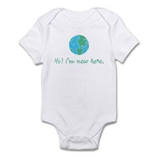 New Here Infant Bodysuit Wht