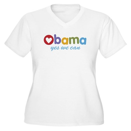 Obama Yes We Can Women's Plus Size V-Neck T-Shirt