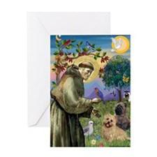 St Francis / Cairn Terrier Greeting Card