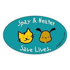 Save Lives Spay & Neuter Oval Sticker (50 pk)