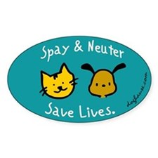 Save Lives Spay & Neuter Oval Sticker (10 pk)