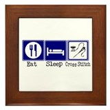 Eat, Sleep, Cross Stitch Framed Tile