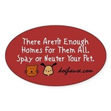 Too Few Homes Spay & Neuter Oval Sticker (10 pk)