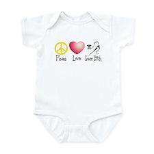 Peace, Love, Cross Stitch Infant Bodysuit