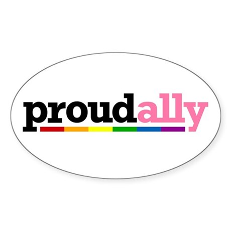Proud Ally Oval Sticker (10 pk)