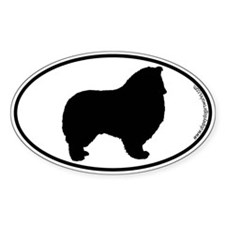 Collie (Rough) SILHOUETTE Oval Sticker (10 pk)
