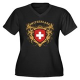 Switzerland Women's Plus Size V-Neck Dark T-Shirt