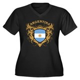 Argentina Women's Plus Size V-Neck Dark T-Shirt