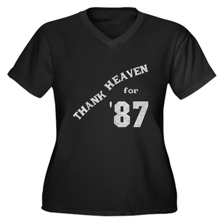 Thank Heaven for '87 Womens Plus Size V-Neck Dark