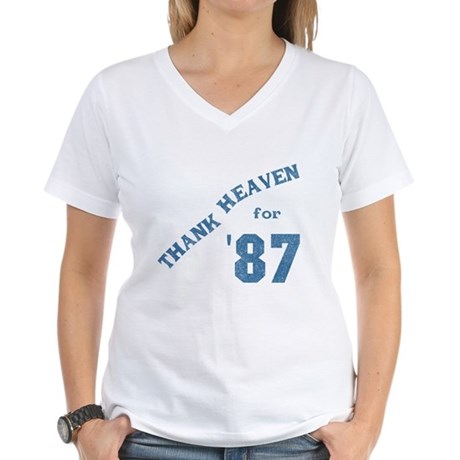 Thank Heaven for '87 Womens V-Neck T-Shirt
