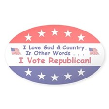 I Vote Republican Oval Sticker (50 pk)