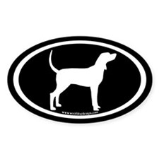 Coonhound #2 Oval (white on black) Oval Decal