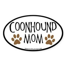 Coonhound Mom Oval (black border) Oval Decal