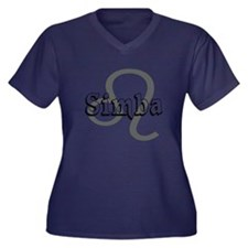 Simba~Leo Women's Plus Size V-Neck Dark T-Shirt