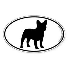 French Bulldog SILHOUETTE Oval Sticker (50 pk)
